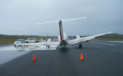 King Air on runway 21 at Coffs Harbour