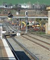 Figure 1: Worksite (looking south from Junee station platform) showing temporary stop blocks