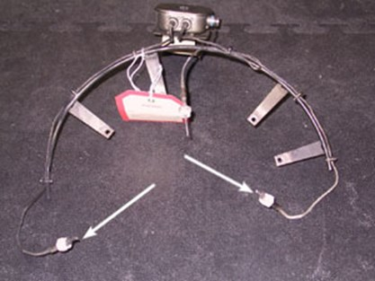 Thermocouple assembly - thermocouples at arrows burned/damaged.