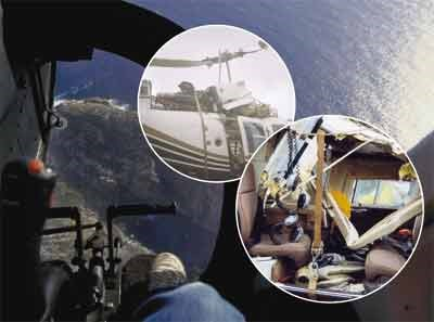 montage of images showing damage to helicopter