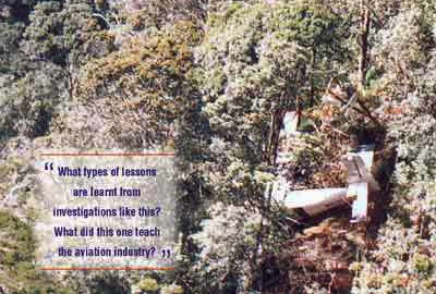 Aircraft accident site into trees