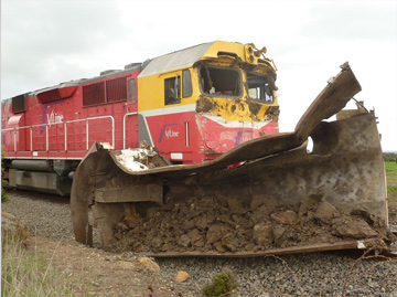 Damaged locomotive at the accident site