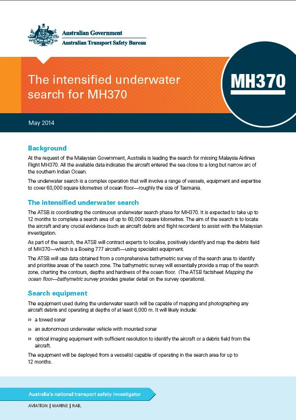 Download complete document - Intensified underwater search fact sheet