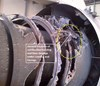 Fig 1: No. 2 engine showing fire damage (looking forward)  Source: Cobham (edited by the ATSB)