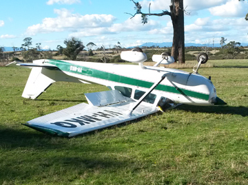Accident site of the Cessna 172 aircraft VH-MKQ