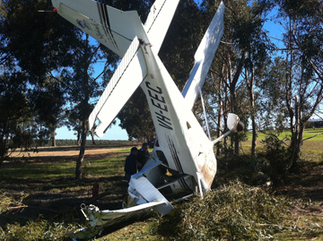 Accident site Cessna 172 and collision with tree