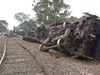 Derailed grain train 9130 at Emu Victoria