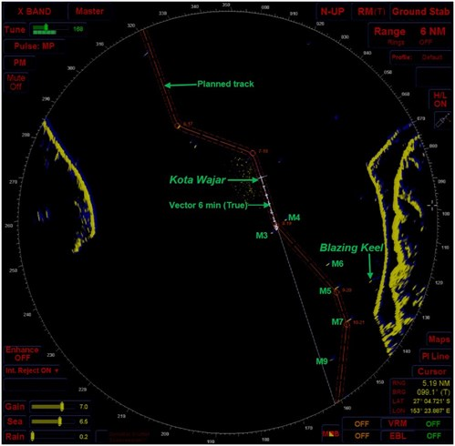 Figure 4: Kota Wajar's x-band radar's main display at 0400 on 6 July 2014