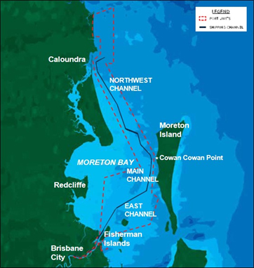 Map of Moreton Bay, Port of Brisbane