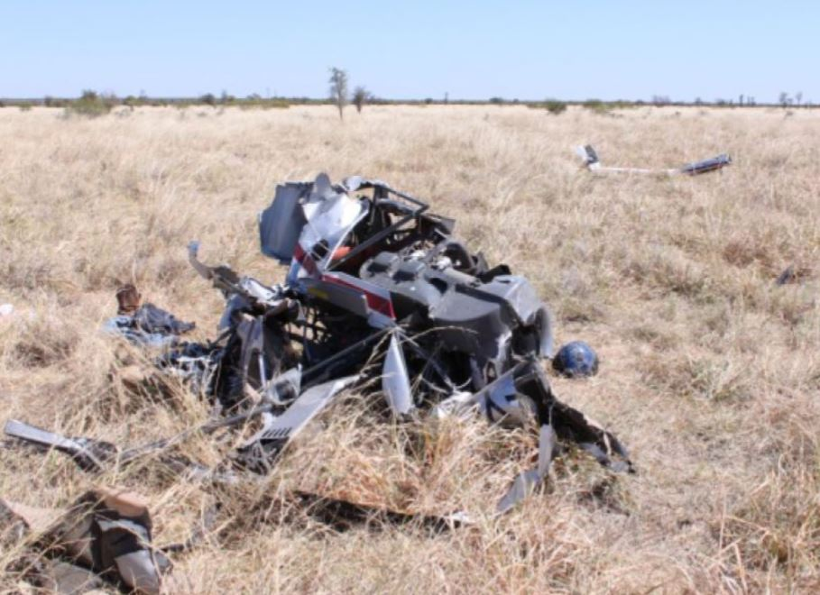 Robinson R22 helicopter accident site near Fitzroy Crossing, WA