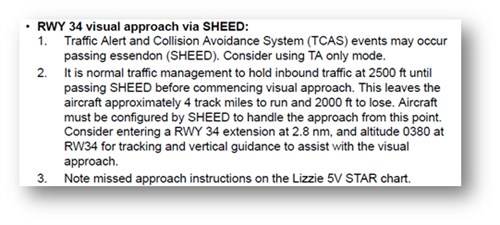 Figure 6: Presentation of information regarding the visual approach via SHEED in the operator's Route and Information Manual