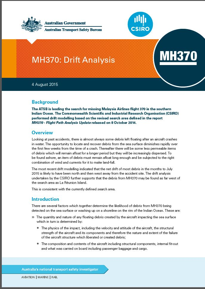 Download complete document - MH370: Drift Analysis Fact Sheet