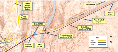 Figure 3: Map of derailment site showing location of 3PS6 and track buckle