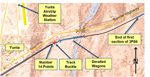 Figure 4: Map of derailment site showing location of 3PS6 and track buckle