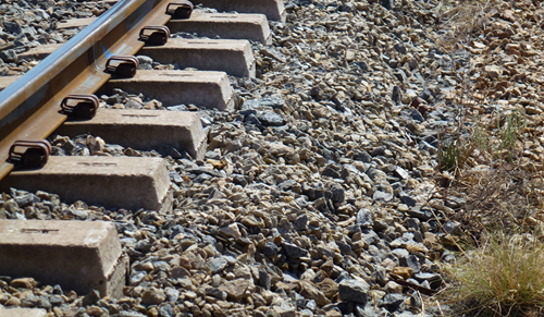 Figure 7: Shoulder ballast and exposed sleeper ends adjacent to the derailment site.