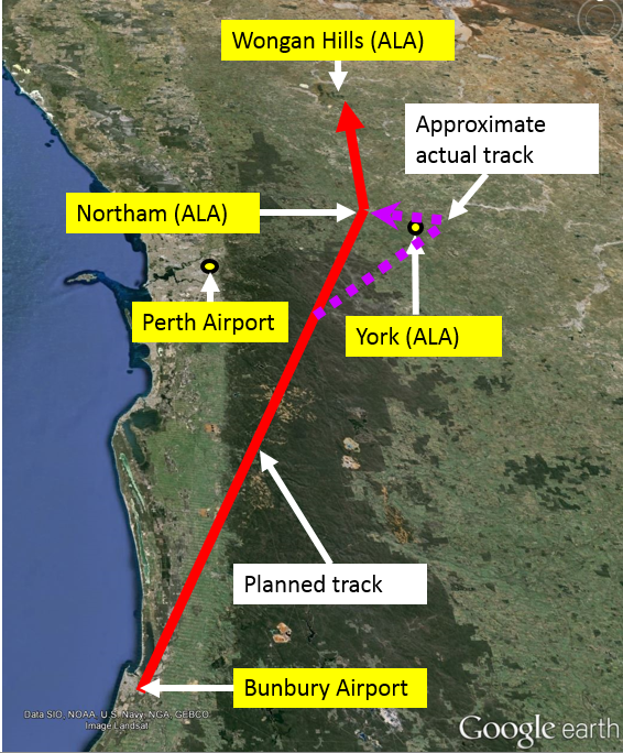 Figure 1: The pilot's planned route from Bunbury to Wongan Hills via Northam (red) and the approximate actual track, via York (purple)