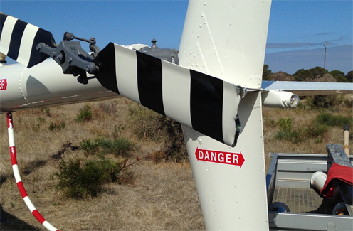 Figure 1: Tail rotor blade damage to VH-LOL