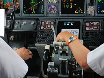 High capacity aircraft cockpit - stock art