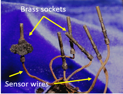 Figure 4: Sensor wires and brass sockets