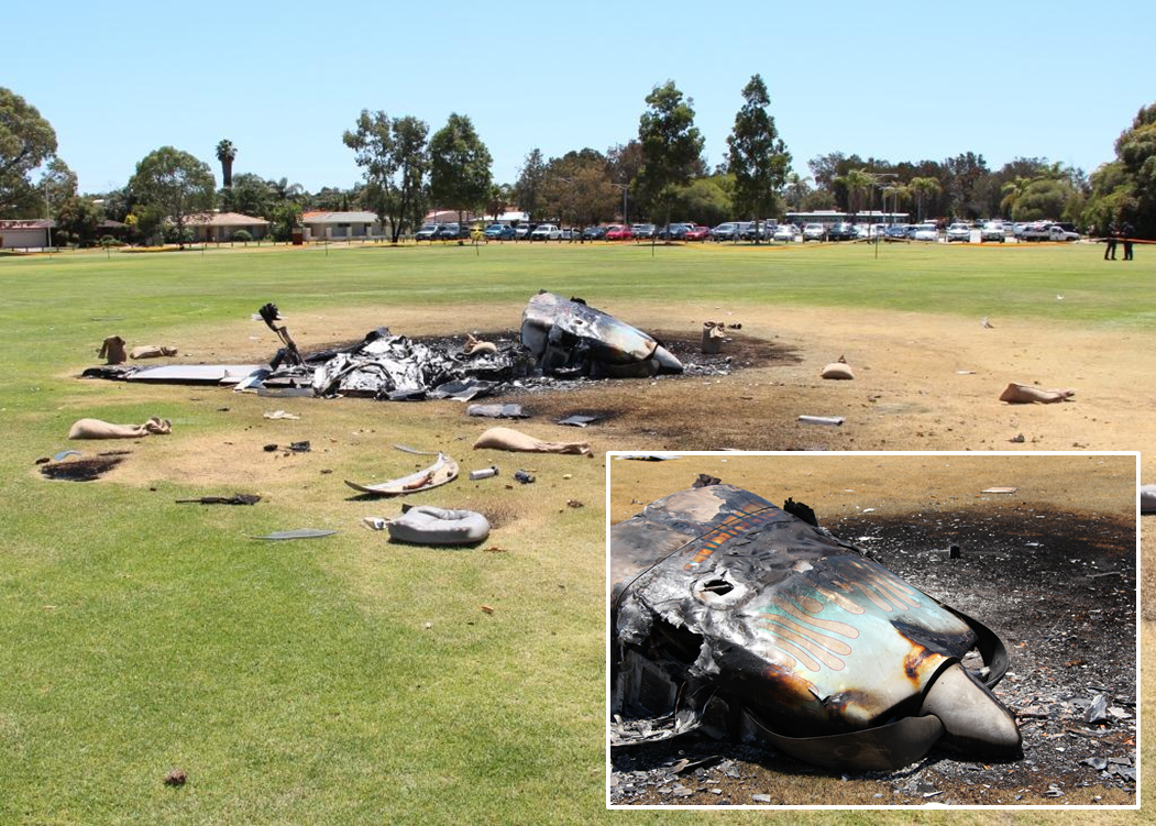 Figure 6: Aircraft wreckage and propeller damage (see inset)
