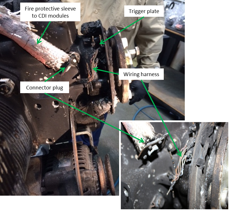 Figure 7: Disconnected engine timing trigger plate wiring and connector plug (engine positioned upright)