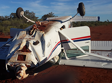 Accident site fo the Cessna 182, VH-AHC 100 km SW of Bourke, NSW