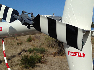 Tail rotor blade damage to VH-LOL