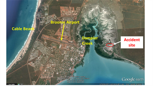 Figure 1: Broome Airport and accident site