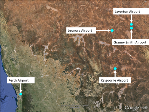 Figure 1: Selected aerodromes in Western Australia