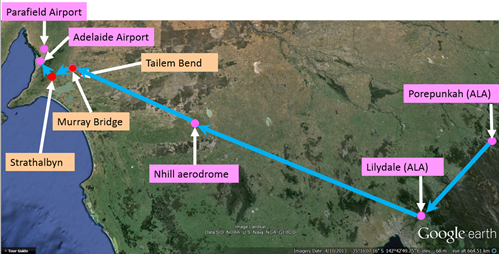 Figure 1: Approximate aircraft track from Porepunkah to Lilydale and Adelaide