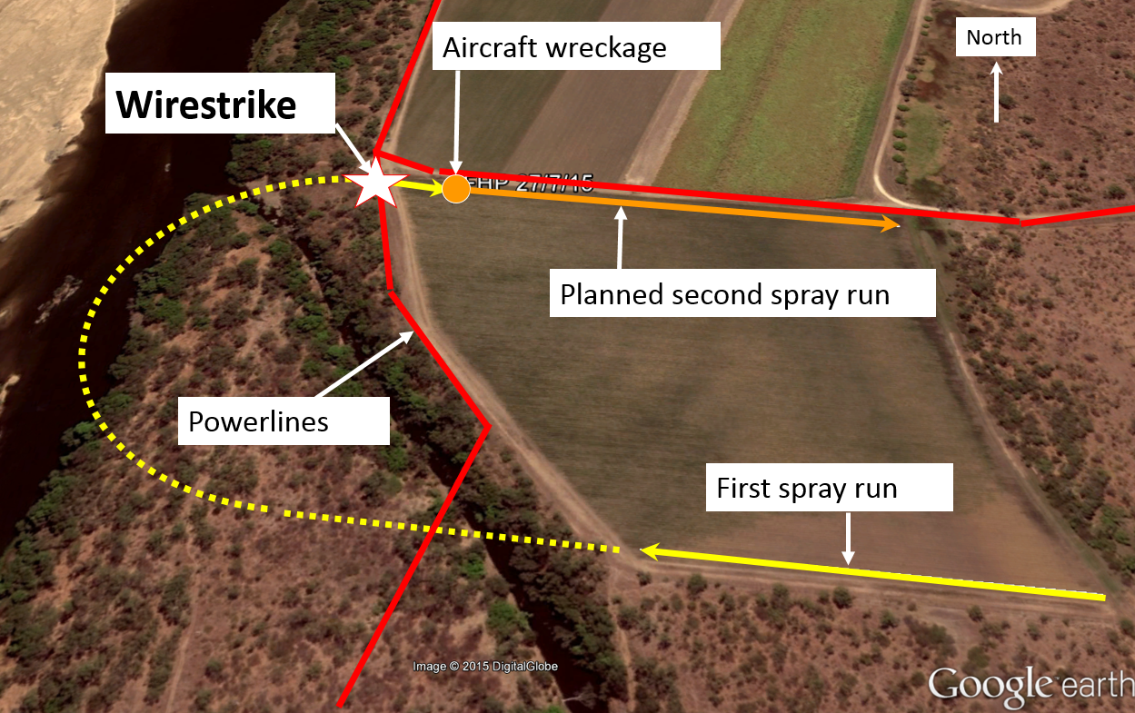 Figure 1: Paddock to be sprayed showing powerlines and wirestrike location