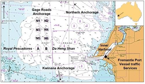 Figure 1: Section of navigational chart Aus 117 showing Gage Roads Anchorage