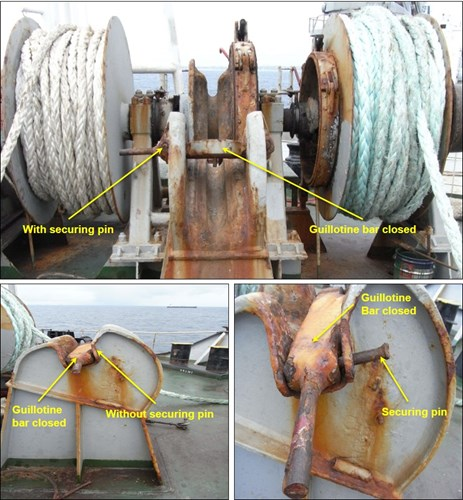 Figure 5: Royal Pescadores' port windlass and chain cable stopper arrangement