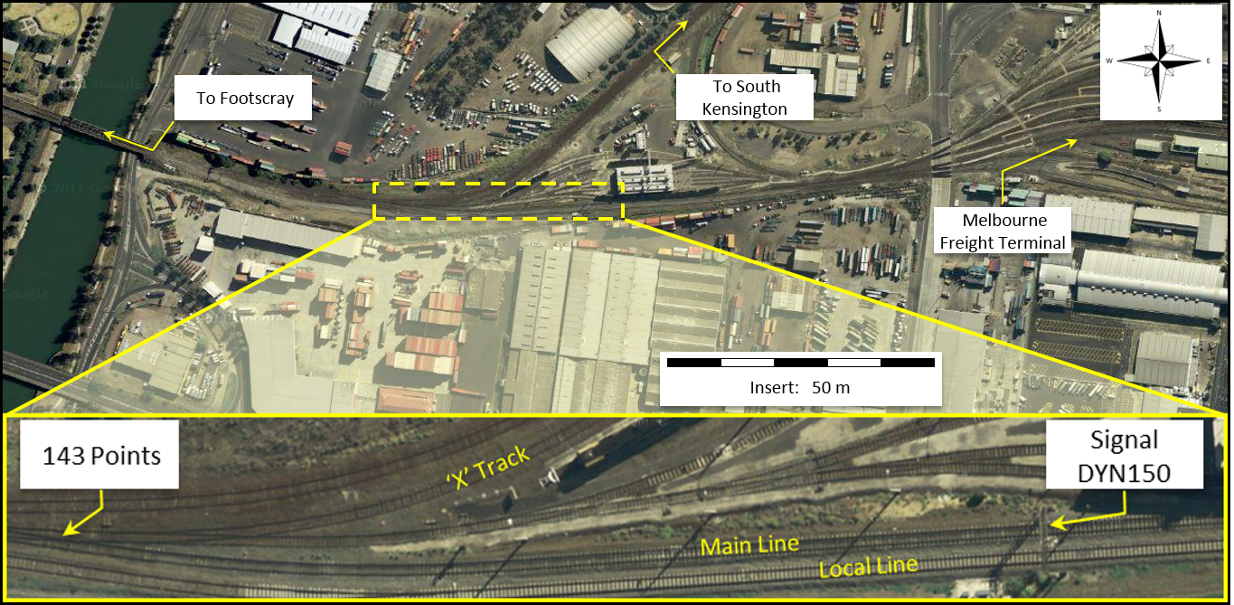Figure 3: View of South Dynon Junction track layout including the main line, 'X' track and points 143