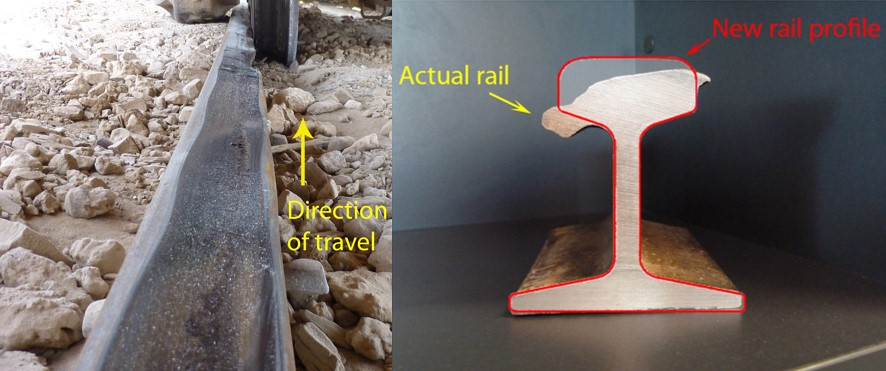 Figure 4: Rail head wear, metal flow and corrugations