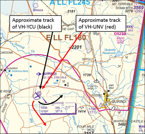 Figure 1: Extract from a visual chart showing the manner in which the tracks of the two aircraft converged as they neared Quirindi, and the general direction of flight of each aircraft after they passed Quirindi (YCU turning to the north-east and UNV turning to the south-east)