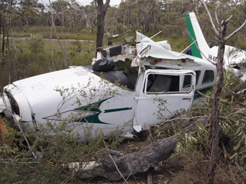 Accident site of Cessna 206, VH-KRR