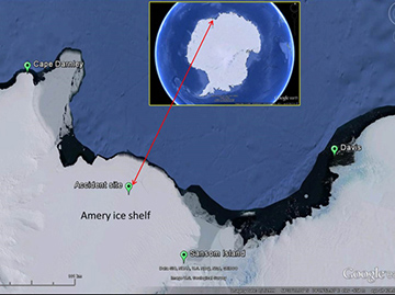 Area of operation and the accident site location: 240 km west of Davis Base, Antarctica