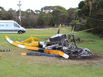 Robinson R44 helicopter accident site at Bulli Tops NSW.