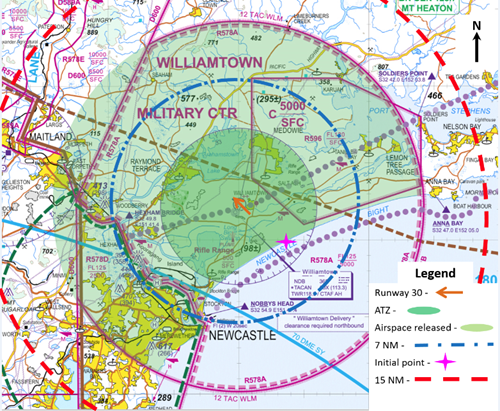 Figure 1: Williamtown Tower airspace: Dark green shading shows the usual airspace, light green shows additional airspace on 19 September 201