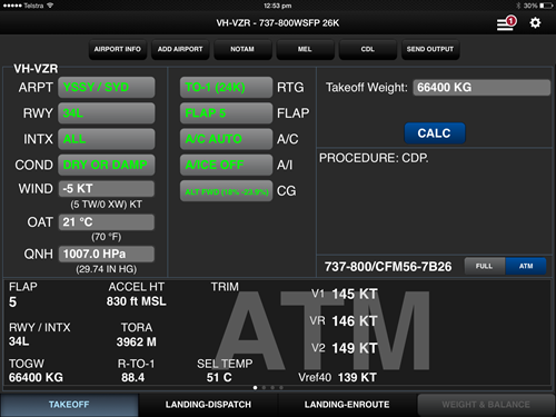 Figure 2: Take-off data entry screen in the on-board performance calculation tool for VHVZR showing the erroneous take-off weight (66,400 kg)