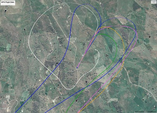 Figure 4: GPS flight data with accident flight shown as the white track