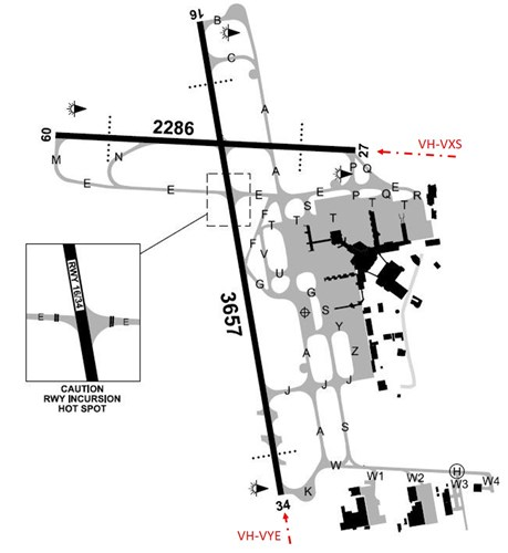 Figure 1: Melbourne Airport layout showing the runways and taxiways and the intended arrival runway for VXS and VYE