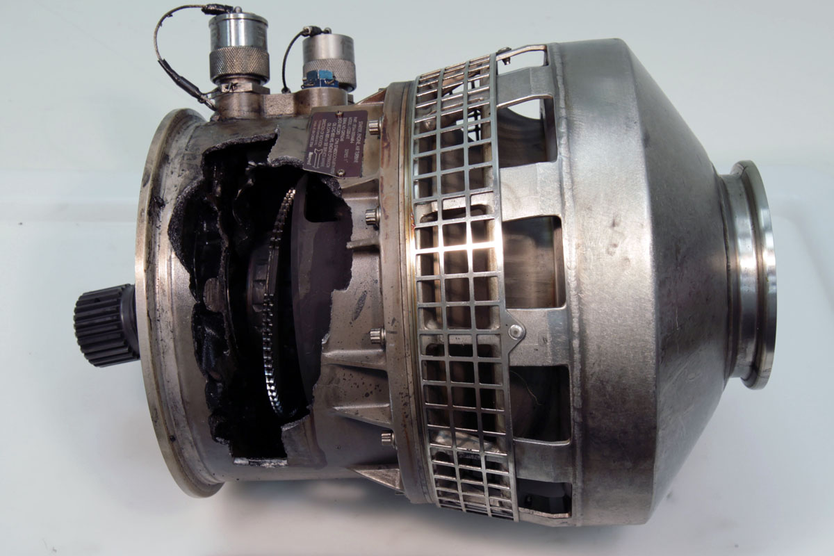 Figure 2: The air turbine starter removed from B-18358, as-recovered