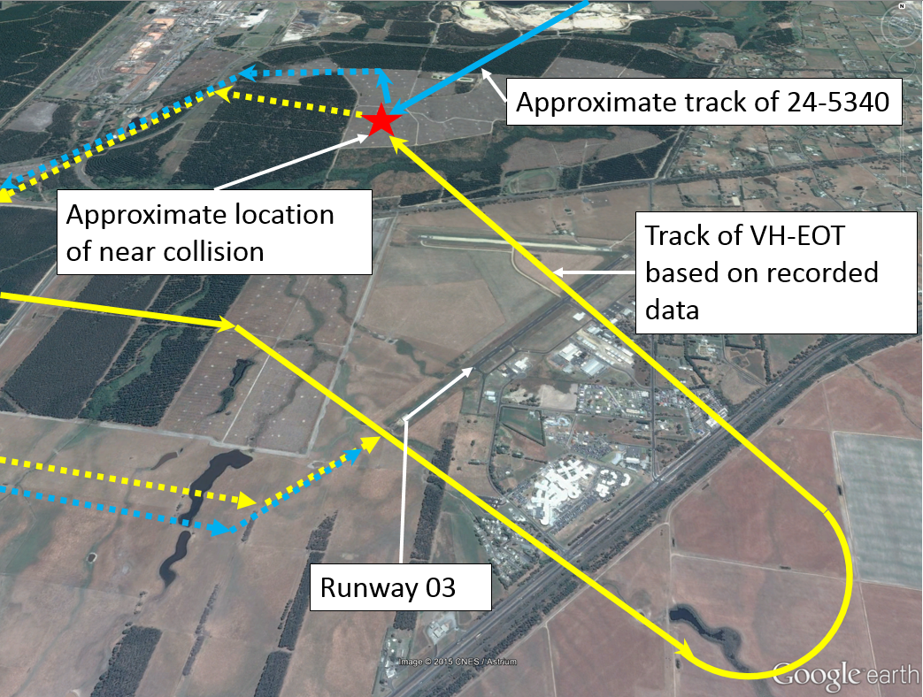 Figure 1: Latrobe Valley Airport showing approximate aircraft tracks