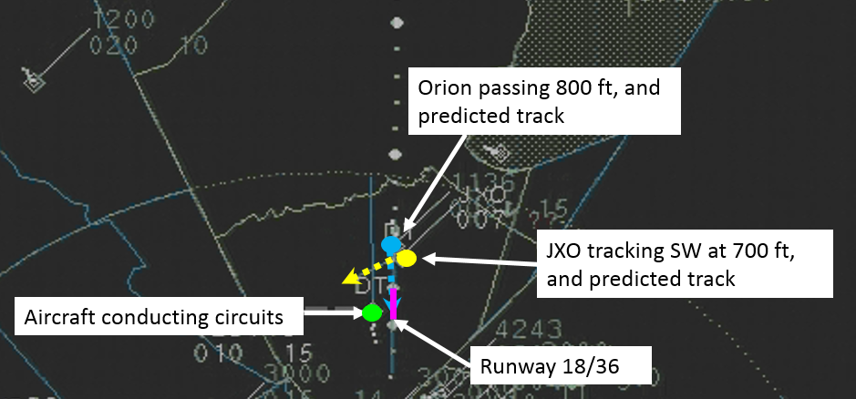 Figure 5: Relative positions when ATC advised JXO of the Orion (time 1514)