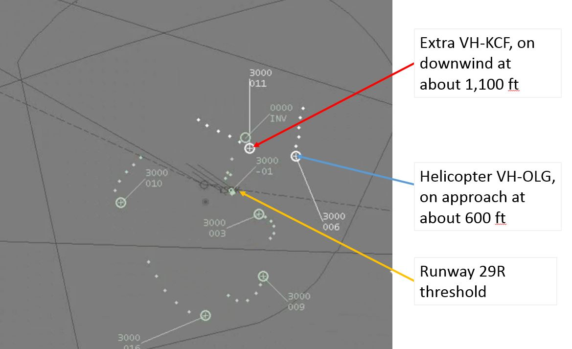 Figure 5: Radar plot showing both aircraft approaching their relative landing areas