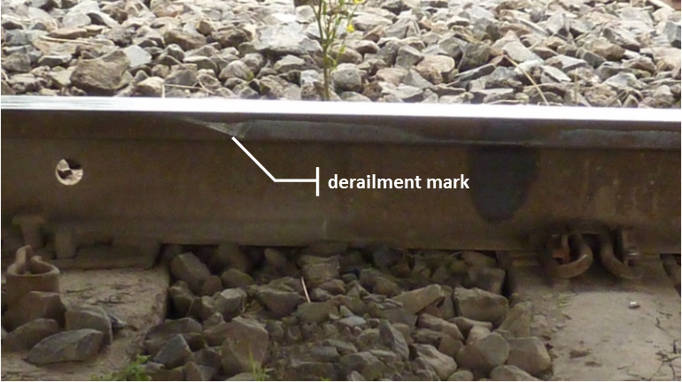 Figure 5: Point of derailment where a wheel had dropped inside the common rail