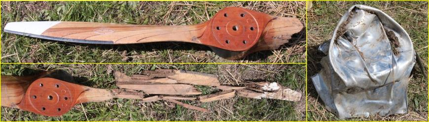 Figure 3: Broken two-bladed propeller blade and metal spinner, showing the reconstructed detached/shattered blade