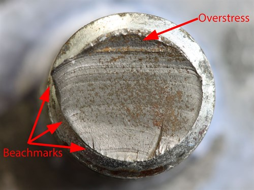 Bolt fracture surface showing evidence of fatigue crack progression (beach) marks